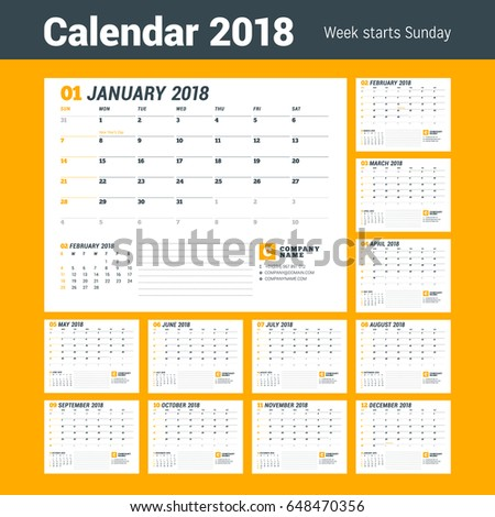 Calendar Template 2018 Year Business Planner Stock Vector