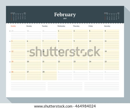 Calendar Template for 2017 Year. February. Business Planner Template. Stationery Design. Week starts Sunday. 3 Months on the Page. Vector Illustration