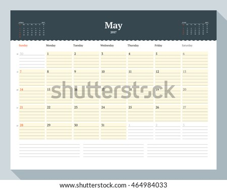 Calendar Template for 2017 Year. May. Business Planner Template. Stationery Design. Week starts Sunday. 3 Months on the Page. Vector Illustration