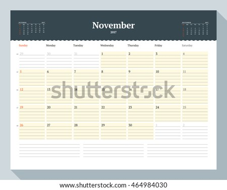 Calendar Template for 2017 Year. November. Business Planner Template. Stationery Design. Week starts Sunday. 3 Months on the Page. Vector Illustration