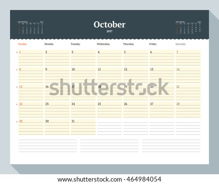 Calendar Template for 2017 Year. October. Business Planner Template. Stationery Design. Week starts Sunday. 3 Months on the Page. Vector Illustration