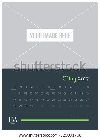 Calendar Template for 2017 Year. Vector Illustration.