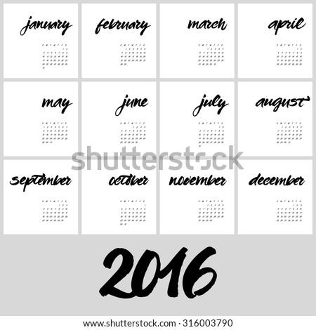Calendar 2016 template. Hand painted names of months. Brush handwritten calligraphy. Lettering of january, february, march, april, may, june, july, august, september, october, november, december. - stock vector