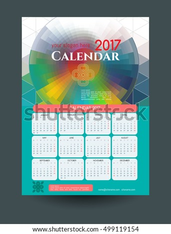 Calendar  Vector Templates All Months Stock Vector