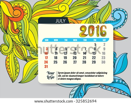 Calendar template of July 2016,vector illustration
