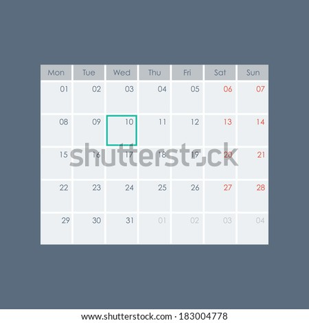 Calendar template. Vector illustration - stock vector