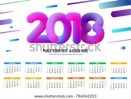 Calendar 2018 Template Cool Bubble Numbers Stock Vector 786062203 ...