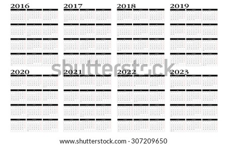 Calendar 2016 to 2023 in english - stock vector