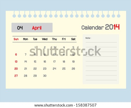 Calendar to schedule monthly. April.