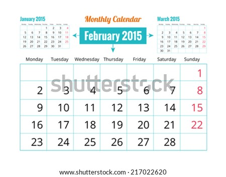 Calendar to schedule monthly. February - stock vector