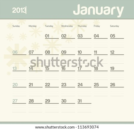 Calendar to schedule monthly. January. - stock vector