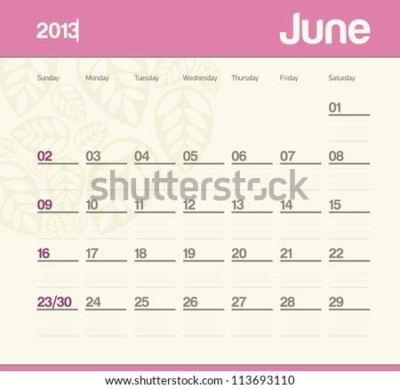 Calendar to schedule monthly. June. - stock vector