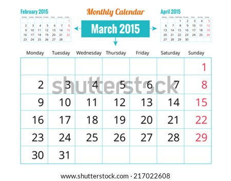 Calendar to schedule monthly. March - stock vector