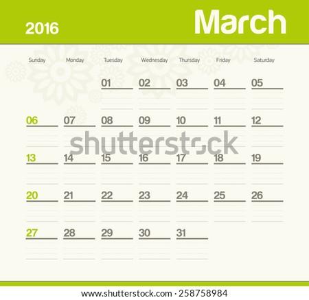 Calendar to schedule monthly. March. - stock vector