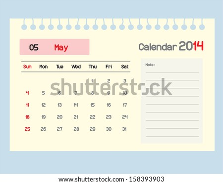 Calendar to schedule monthly. May.