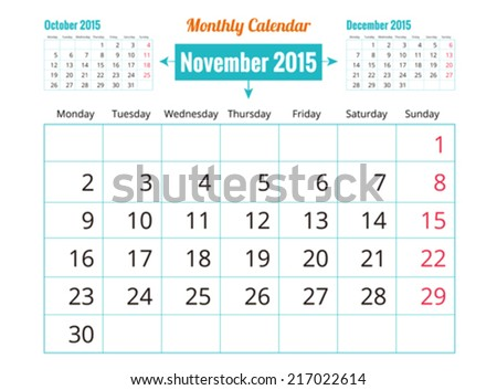 Calendar to schedule monthly. November - stock vector