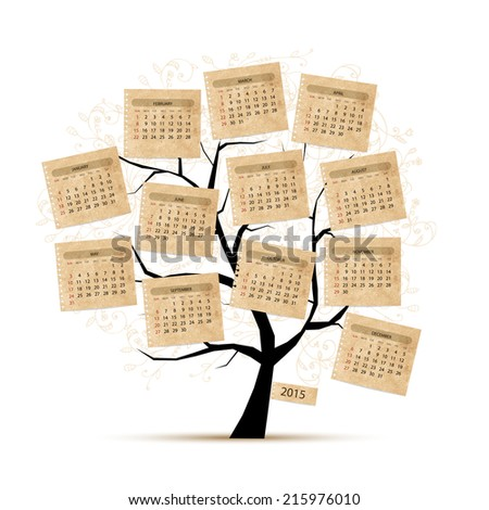 Calendar tree 2015 for your design - stock vector