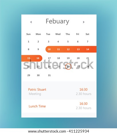 Calendar UI element. Calendar widget. Vector illustration - stock vector