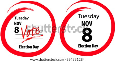 Calendar US General Election Day Circled November 8 2016- 2 styles of image - stock vector