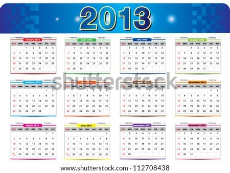Calendar 2013 Vector - stock vector