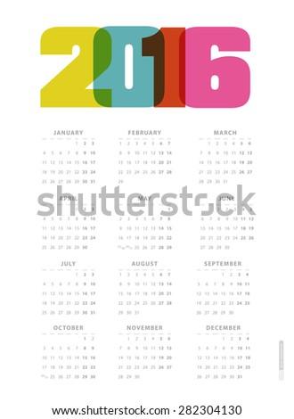Calendar 2016. Vector. - stock vector