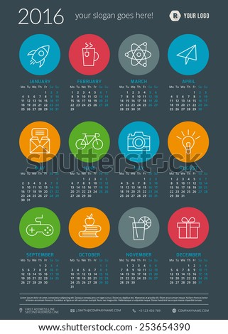 Calendar 2016 vector decign template. Week starts Monday - stock vector