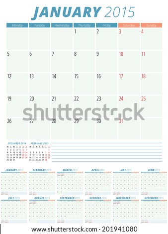 Calendar 2015 vector design template  - stock vector