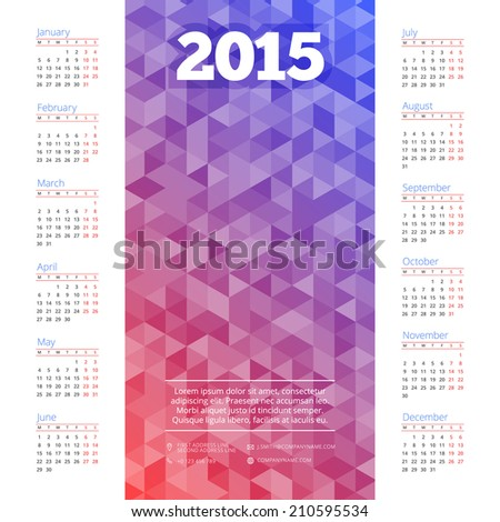 Calendar 2015 vector design template and place for your photo - stock vector