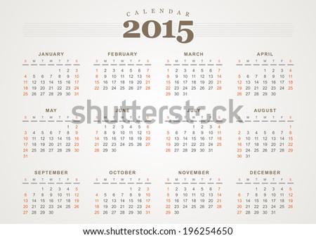 Calendar 2015 vector design template USA version - stock vector