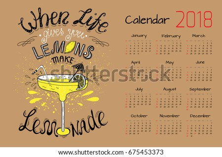 Quotes 2018 Calendar Endearing Calendar 2018 Vector Design Template Motivational Stock Vector