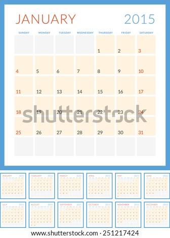 Calendar 2015 vector flat design template. Set of 12 months. Week starts Sunday - stock vector