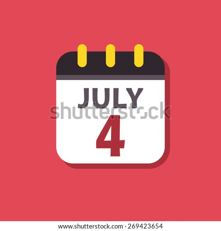 Calendar vector icon. Signs for smartphone and tablets, web design, websites, app. Holiday. Independence Day - stock vector
