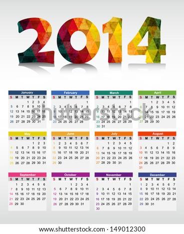 Calendar 2014. Vector illustration - stock vector