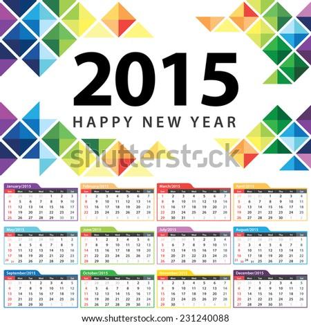 Calendar 2015 vector illustration. Abstract triangle template design. - stock vector