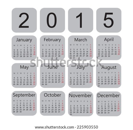 Calendar 2015.Vector illustration.Week starts with monday. - stock vector