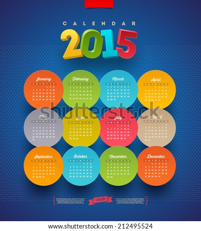 Calendar 2015 vector template - stock vector