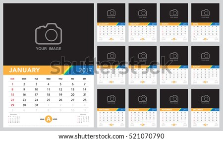 Calendar 2017 vector template ,Calendar design on white background. Week starts from Sunday.  vector eps10