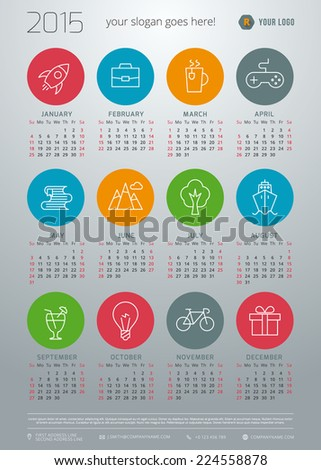 Calendar 2015 vector template week starts sunday - stock vector