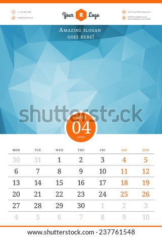 Calendar 2015. Vector template with abstract background. Week starts monday - stock vector