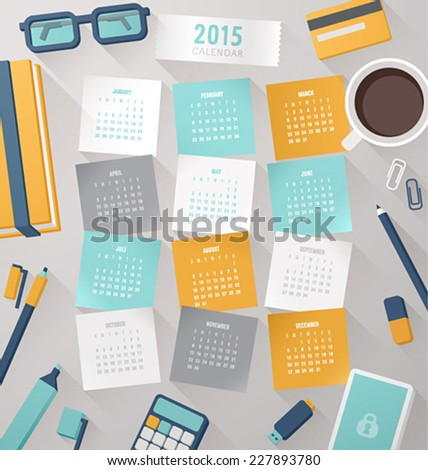 Calendar vector template 2015 with Workplace elements. - stock vector