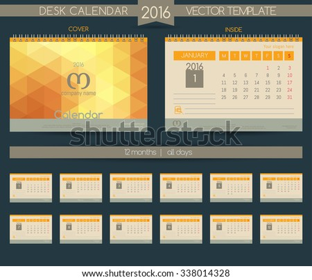 Retro Calendar 2016 Vector Templates All Vector 337429796 – Calendar Sample Design