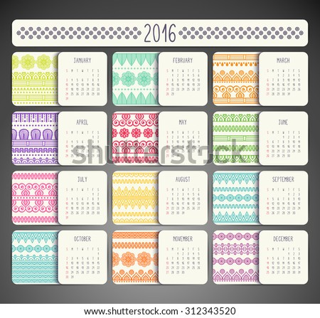 Calendar 2016. Vintage decorative elements. Ornamental floral business cards, oriental pattern, vector illustration.  Islam, Arabic, Indian, turkish, pakistan, chinese, ottoman motifs