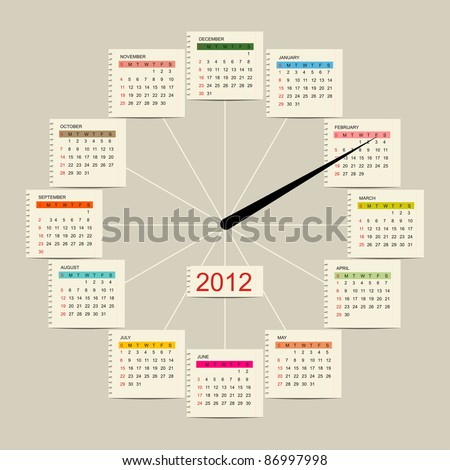 Calendar watch 2012 for your design - stock vector