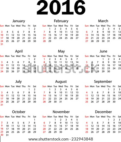 Calendar 2016 Week starting from sunday (weeks starting from monday #231212071) - stock vector