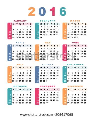 Calendar 2016 (week starts with sunday). Vector illustration. - stock vector