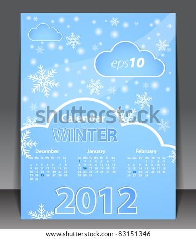 Calendar 2012 - Winter - stock vector