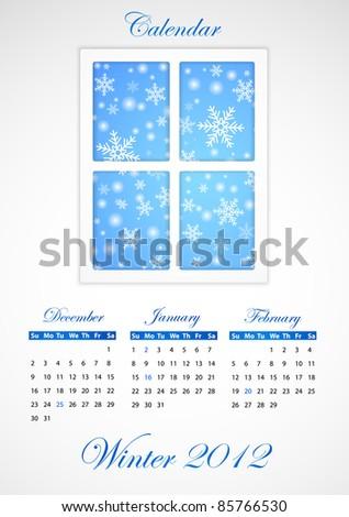 Calendar. Winter 2012 - stock vector