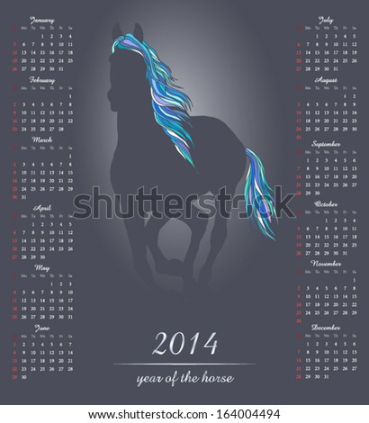 Calendar 2014 with a horse symbol of the year.