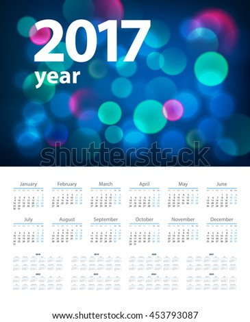 calendar with blue background  in 2017 - 2025 year, beginning with Monday