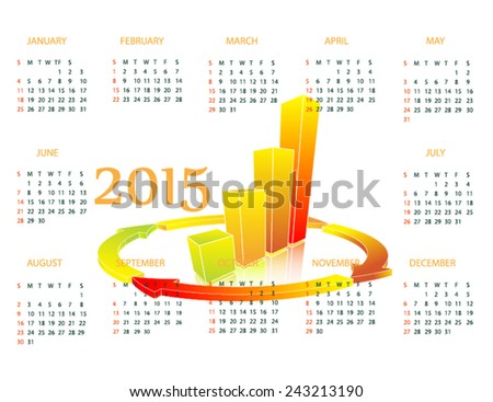 Calendar with chart for 2015 - stock vector